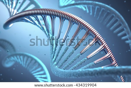 DNA. 3D illustration, concept of genetic engineering or genetic modification.  - stock photo