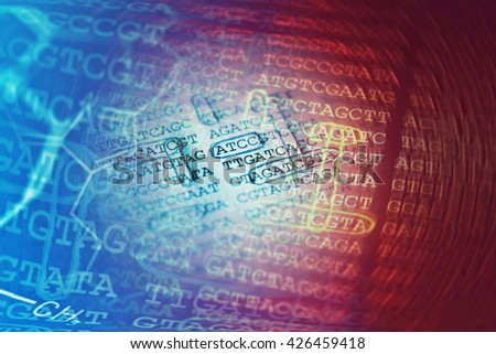 DNA data and chemical formula. Science concept. - stock photo