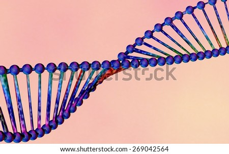 DNA; double helix of DNA, DNA chains on pink background; scientific background - stock photo