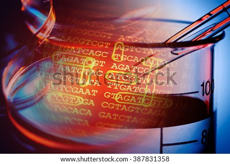 DNA encoding and laboratory tools. Text with nucleobases. - stock photo