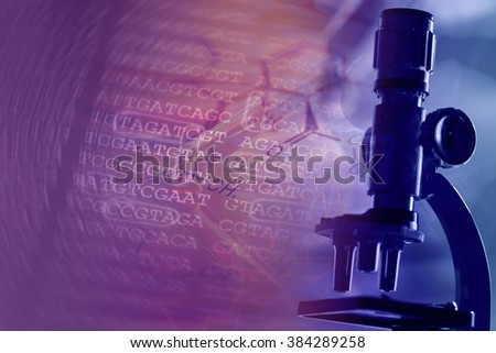 DNA encoding and microscope. Text with nucleobases. - stock photo