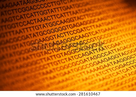 DNA encoding. Text with nucleobases.