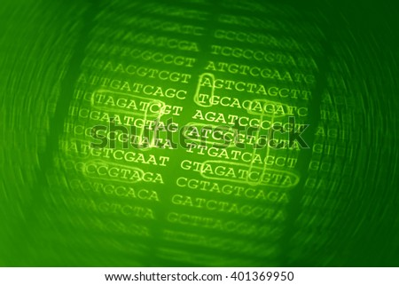 DNA encoding. Text with nucleobases. - stock photo