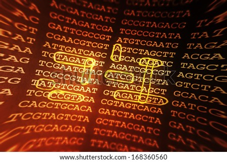 DNA encoding. Text with nucleobases. Pincushion lens use. - stock photo