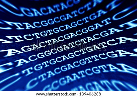 DNA encoding. Text with primary nucleobases. Pincushion lens use. - stock photo