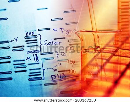 DNA fingerprint data on a paper. Macro image. - stock photo