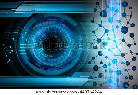 DNA helix DNA molecule, digital data background,blue abstract light hi tech pixel internet technology, Cyber security concept, Cyber data digital computer. - stock photo