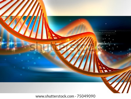 Dna in abstract color background - stock photo