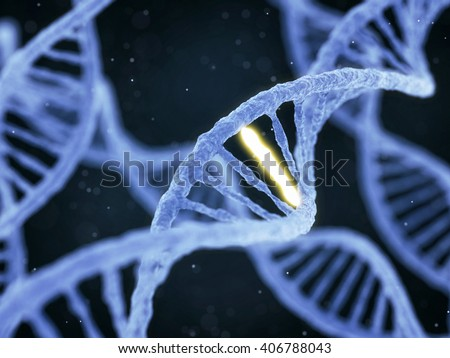 DNA molecule spiral structure with unique connection on abstract dark background. Genetics, GMO and biotechnology concept. 3D illustration