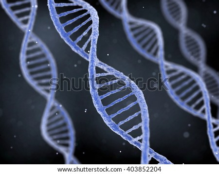 DNA molecule spiral structures on abstract dark background. Biology, science and medical technology concept. 3D illustration