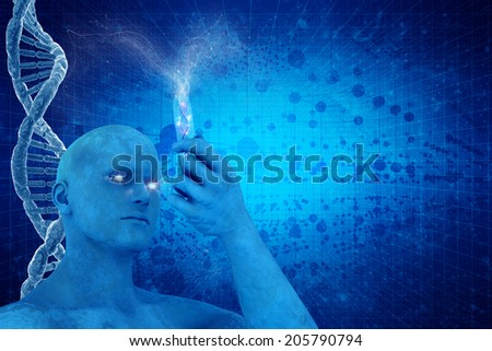 DNA molecules and 3D man on the science beautiful backdrop - stock photo