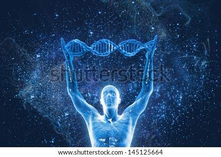 DNA molecules and men - stock photo