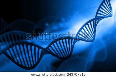 DNA molecules on blue background