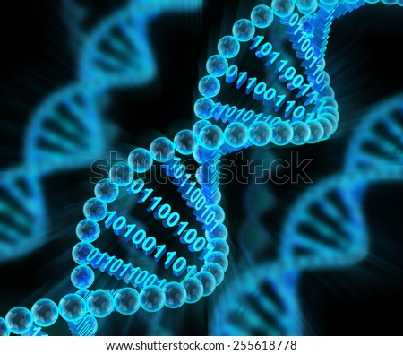 DNA molecules with binary code, 3d render, dark background - stock photo