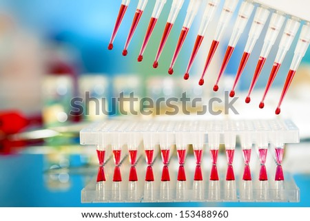 DNA samples are loaded to 96-well plate for PCR analysis - stock photo