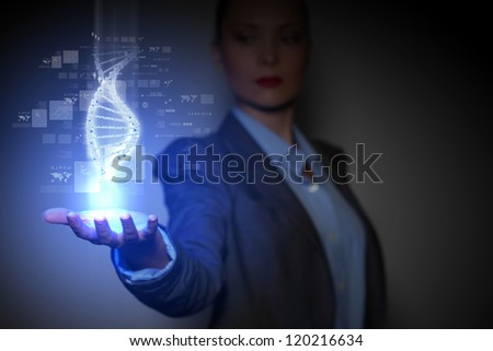 DNA science background with business person on the background - stock photo