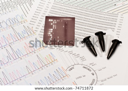 DNA sequence, electrophoresis photo, restriction map and tubes