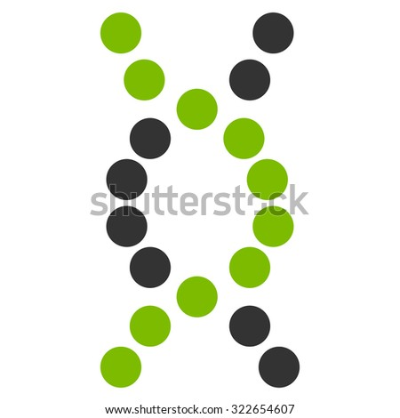 Dna Spiral glyph icon. Style is bicolor flat symbol, eco green and gray colors, rounded angles, white background.