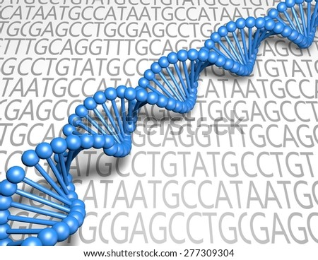 DNA strand blue model. Genetics and research concept. - stock photo