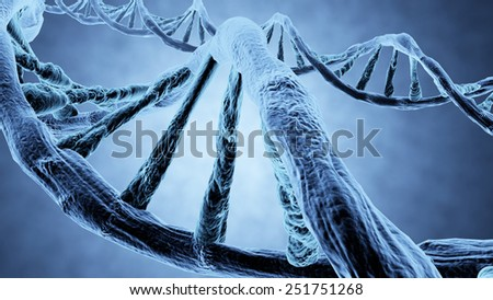 DNA strands propeller shaped blue 3d rendering and clipping path - stock photo