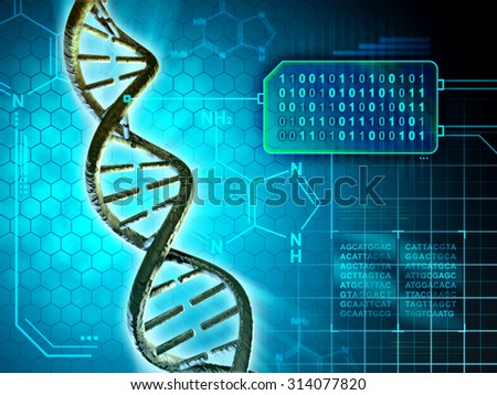 Dna structure converted into binary code. Digital illustration. - stock photo