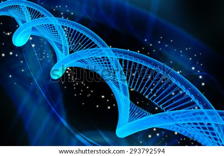 DNA structure in digital background - stock photo