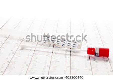 DNA test tube and cotton swab, wipe test - stock photo