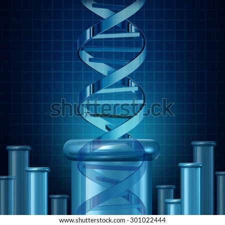 DNA testing and genetic research concept as a double helix science beaker as a biotechnology and medical science symbol for gene editing as a double helix rising from a lab beaker. - stock photo