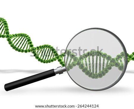 DNA testing concept with DNA strand and 3d magnifier. - stock photo