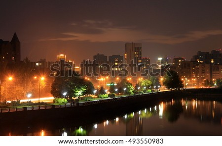Dnepr, Ukraine, view of the city in  evening,(Dnepropetrovsk, Dnipropetrovsk , Dnipro).