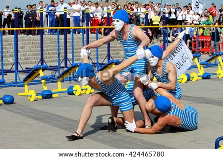 Dnepropetrovsk ( Dnepr, Dnipro) Ukraine,   May 21, 2016,   Street workout, model appearances of group of sportsmen in masks in Dnepropetrovsk. - stock photo