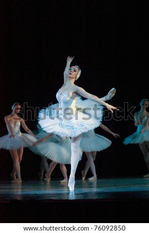 "DNEPROPETROVSK, UKRAINE - APRIL 23: Members of the Dnepropetrovsk Opera and Ballet Theatre perform ""Swan Lake"" on April 23, 2011 in Dnepropetrovsk, Ukraine"