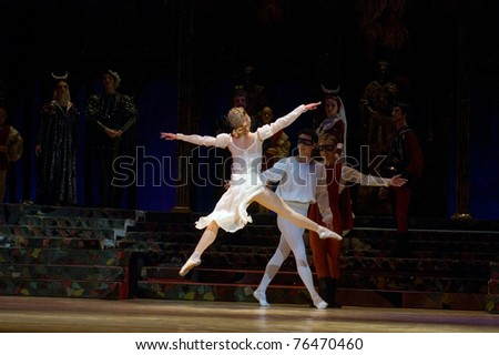 DNEPROPETROVSK, UKRAINE - APRIL 29: Romeo and Juliet ballet performed by Dnepropetrovsk Opera and Ballet Theatre ballet on April 29, 2011 in Dnepropetrovsk, Ukraine.