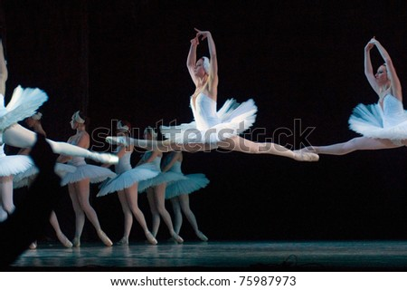 DNEPROPETROVSK, UKRAINE - APRIL 23: Swan Lake ballet performed by Dnepropetrovsk Opera and Ballet Theatre ballet on April 23, 2011 in Dnepropetrovsk, Ukraine. - stock photo