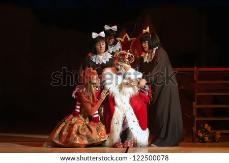 "DNEPROPETROVSK, UKRAINE - DECEMBER 21: Members of the Dnepropetrovsk State Opera and Ballet Theatre perform ""The Snow Queen"" on December 21, 2012 in Dnepropetrovsk, Ukraine"