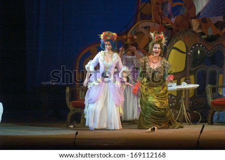 DNEPROPETROVSK, UKRAINE - DECEMBER 30: Members of the Dnepropetrovsk State Opera and Ballet Theatre perform CINDERELLA on December 30, 2013 in Dnepropetrovsk, Ukraine