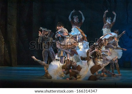 DNEPROPETROVSK, UKRAINE - DECEMBER 7: Members of the KYIV MODERN BALLET perform NUTCRACER at the State Opera and Ballet Theatre on December 7, 2013 in Dnepropetrovsk, Ukraine