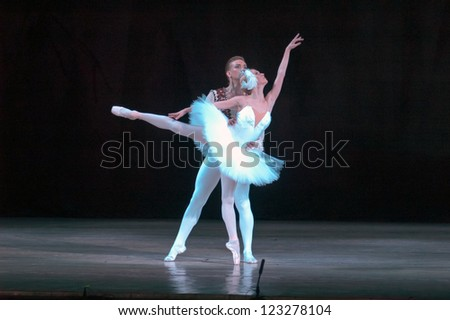 "DNEPROPETROVSK, UKRAINE - DECEMBER 28: ""Swan Lake"" ballet performed by Dnepropetrovsk Opera and Ballet Theatre ballet on December 28, 2012 in Dnepropetrovsk, Ukraine."