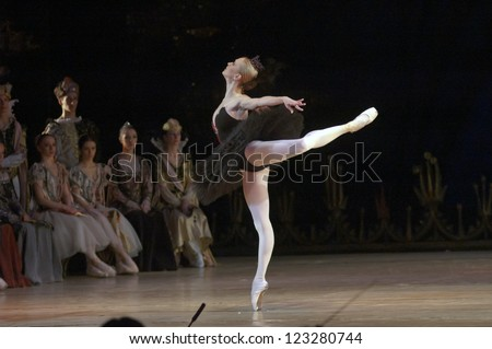 "DNEPROPETROVSK, UKRAINE - DECEMBER 28:""Swan Lake""  ballet performed by Dnepropetrovsk Opera and Ballet Theatre ballet on December 28, 2012 in Dnepropetrovsk, Ukraine. - stock photo"