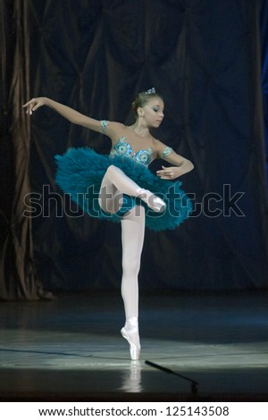 DNEPROPETROVSK, UKRAINE - JANUARY 13: Ksenia Rusin,  age 14 years old, performs Ballet pearls at State Opera and Ballet Theatre on January 13, 2013 in Dnepropetrovsk, Ukraine
