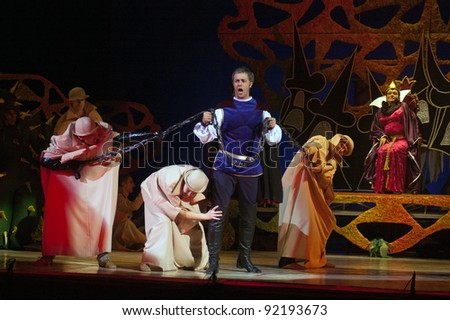"DNEPROPETROVSK, UKRAINE - JANUARY 5: Members of the Dnepropetrovsk State Opera and Ballet Theatre perform ""Snow White and the Seven Dwarfs"" on January 5, 2011 in Dnepropetrovsk, Ukraine"