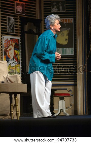 "DNEPROPETROVSK, UKRAINE - JULY 2: Leah Pudalova performs ""I Ought to Be in Pictures"" at State Russian Drama Theatre on July 2, 2008 in Dnepropetrovsk, Ukraine"