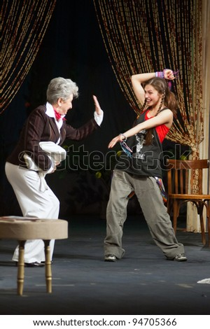 "DNEPROPETROVSK, UKRAINE - JULY 2: Members of the Dnepropetrovsk State Russian Drama Theatre perform ""I Ought to Be in Pictures"" on July 2, 2008 in Dnepropetrovsk, Ukraine"