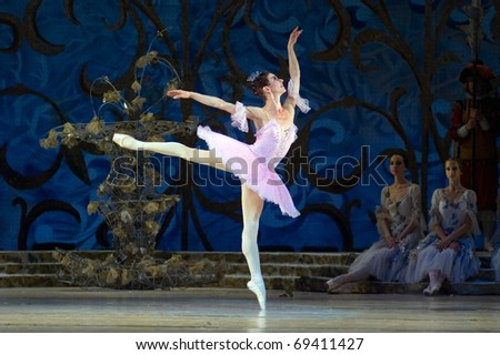 "DNEPROPETROVSK, UKRAINE - JUNE 10: The  Dnepropetrovsk Opera and Ballet Theatre performs ""Sleeping Beauty"" ballet on June 10, 2010 in Dnepropetrovsk, Ukraine. - stock photo"