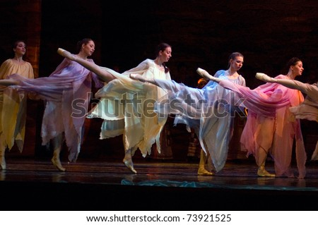 "DNEPROPETROVSK, UKRAINE - MARCH 25: ""The cradle of life""  ballet is performed by Dnepropetrovsk Opera and Ballet Theatre ballet on March 25, 2011 in Dnepropetrovsk, Ukraine."