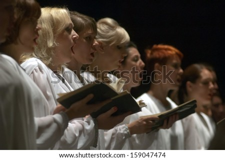 DNEPROPETROVSK, UKRAINE - MAY 27: Choir DUMKA perform Verdi's REQUIEM on May 27, 2013 in Dnepropetrovsk, Ukraine - stock photo