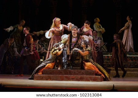 "DNEPROPETROVSK, UKRAINE - MAY 11: Members of the Dnepropetrovsk State Opera and Ballet Theatre perform ""Rigoletto"" on May 11, 2012 in Dnepropetrovsk, Ukraine"