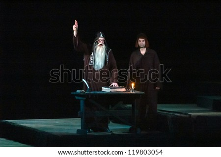 "DNEPROPETROVSK, UKRAINE - NOVEMBER 24: Members of the Dnepropetrovsk State Opera and Ballet Theatre perform ""Boris Godunov"" on November 24, 2012 in Dnepropetrovsk, Ukraine"