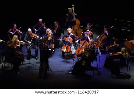 "DNEPROPETROVSK, UKRAINE - OCTOBER 22: ""Four seasons"" Chamber Orchestra - main conductor Dmitry Logvin perform music of George Frideric Handel on October 22, 2012 in Dnepropetrovsk, Ukraine"