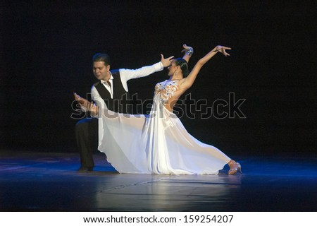 DNEPROPETROVSK, UKRAINE - OCTOBER 20: Members of the Sevastopol Dance Theatre of Vadim Elizarov perform DANCES OF THE WORLD at State Opera and Ballet Theatre on Oct 20, 2013 in Dnepropetrovsk, Ukraine